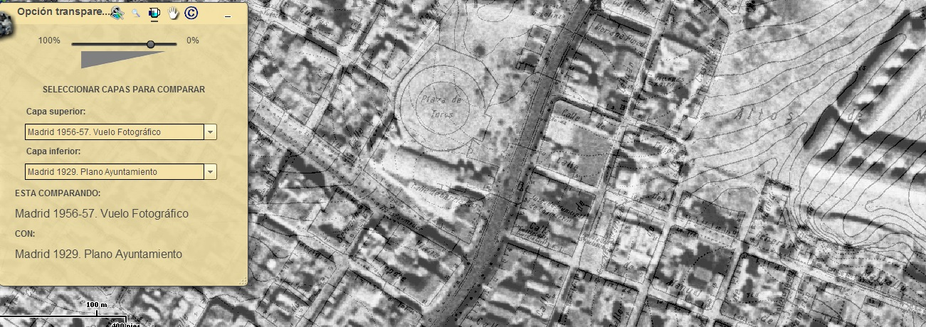 Vista aérea de Madrid 1956-57